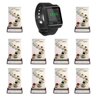 SINGCALL Wireless Calling Pager System 1 Wrist Receive,10 Buttons for Cafe, Bar