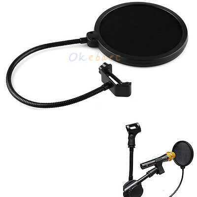 Pro Recording Studio Microphone Wind Screen Pop Filter Mask Shield Double Layer