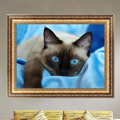 DIY 5D Diamond Embroidery Blue eye Cat Painting Cross Stitch Kits Home Decor