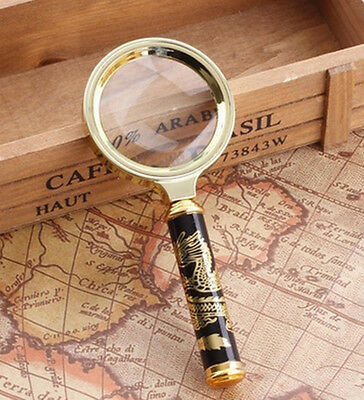 60mm D 10xHandheld Magnifier Dragon Design Handle Optical Magnifying Glass Loupe
