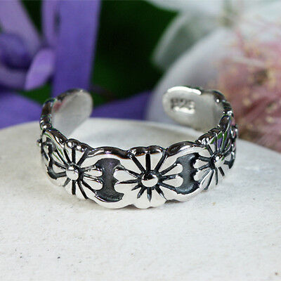 Solid Sterling Silver Flower Toe Ring Adjustable Womens Girls Antique Style