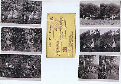 Set Of 6  Original Old Tucks Stereoscopic Real Photo Postcards Tz