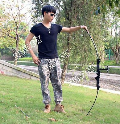 NEW! 30LB Black Traditional Recurve Bow For Horse Archery Outdoor Shooting