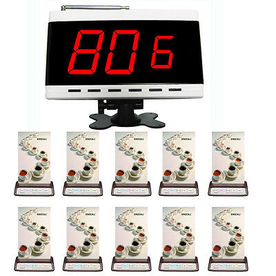 SINGCALL Wireless Restaurant Calling System 1 Screen Receiver and 10 Pagers