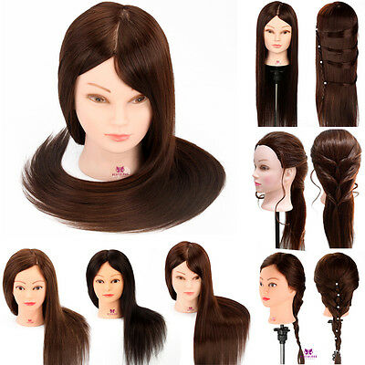 100%/90%/85%/50% Real Hair Hairdressing Training Practice Mannequin Head w/Clamp