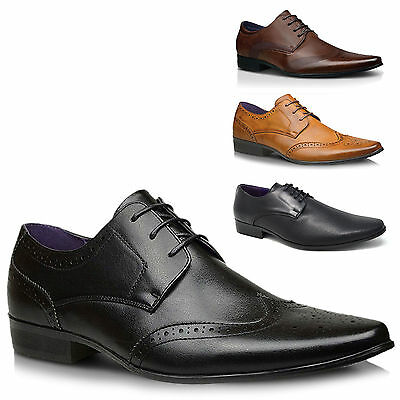 Mens  Casual Brown / Black Leather Smart Dress Formal Lace Up Shoes UK SIZE 7-11