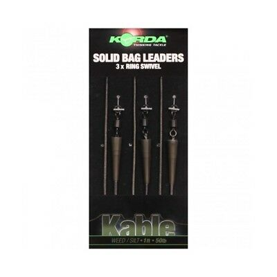 Korda Kable Solid Bag Leadcore Leader x 3 Ring Swivel 30cm 1ft