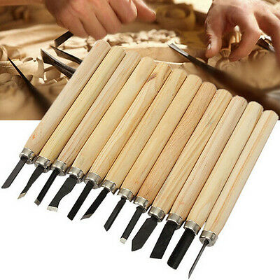 12Pcs/Set DIY Wood Carving Tool Hand Chisel Kits Woodworkiong Whittling Carvers