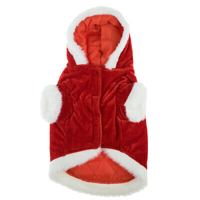 Christmas Red Santa Suit Pet Dog Coat Warm Padded Fancy Dress Costume 10.5in NEW