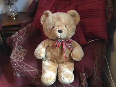 """Large 20"""" Russ Berrie Golden Brown Teddy Bear Soft Toy With Tartan Bow Vgcc"""