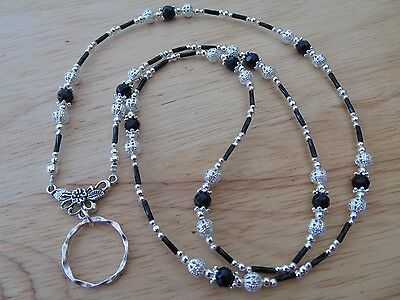 Handmade Beaded Spectacle / Glasses Chain Holder / Necklace. Black