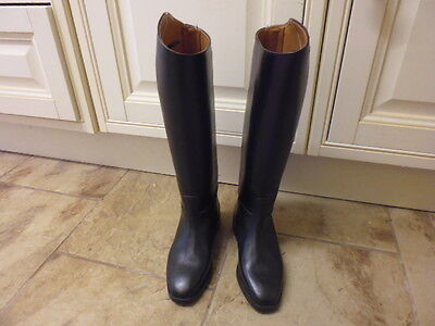 Petrie childrens long leather riding boots black no zips size UK 2