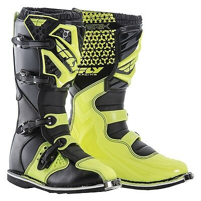 NEW Fly Racing 2018 Mx Maverik Dirt Bike Hi Vis Yellow Black Motocross Boots