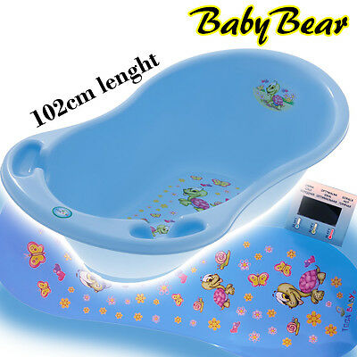TURTLE  Large Baby Bath Tub with thermometer - 102 cm - BLUE