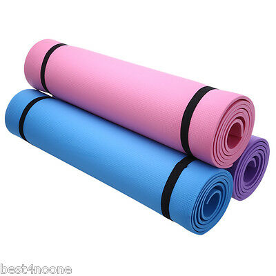 Portable Yoga Mat Exercise Pad 6MM Thick Non-slip Gym Fitness Pilates Supplies