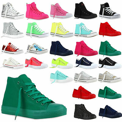 DAMEN HIGH TOP Low Sneakers Sportschuhe Schnürer 890886 New