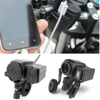 USB Cigarette Lighter 12V Waterproof Power Port Outlet Socket Kit For Motorcycle