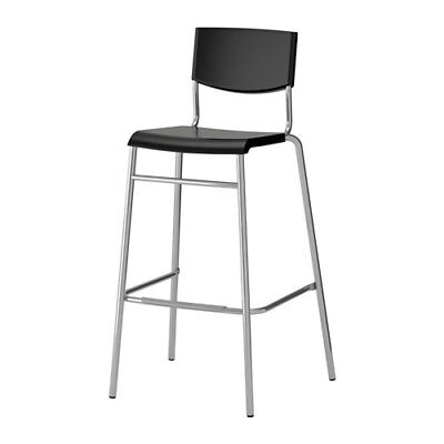 Ikea Bar Stool With Backrest Wooden Party Chairs Stools Black-Steel Base