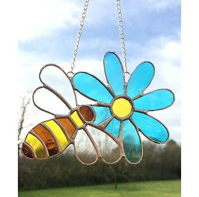 Handmade Stained Glass Bee On Flower Suncatcher Decoration Gift Blue