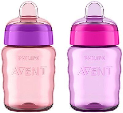Philips Avent My Easy Sippy Cup, 9 Ounce, Pink/Purple, Stage 2 (colors may New