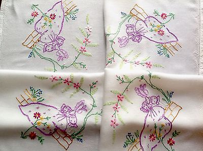 """Vintage Hand Embroidered White Rayon """" Crinoline Ladies """" Table Cloth 31X34 Inch"""