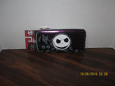 NEW Disney Nightmare Before Christmas Jack Striped ZIPPERED Wallet NEW TAGS
