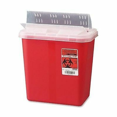 Biohazard Sharps Container With Clear Lid, 2 Gallon, Red (3 Pack)