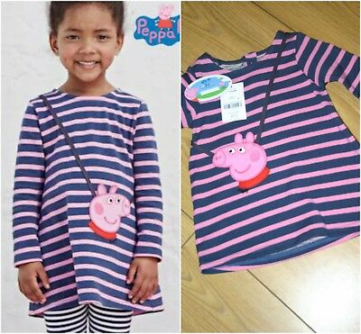 Next Peppa Pig Dress Girls 3-6 months Striped With Attached Purse BNWT
