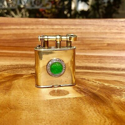 Dunhill Vintage Lighter 14k Solid Gold Diamond & Jade From 1920's Fluid