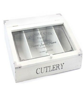 Vintage Shabby Chic Wood Cutlery Tray Drawer Organiser Storage Box Glass Lid