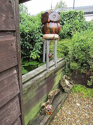 Fair Trade Hand Carved Made Wooden Rainbow Owl Metal Windchime Wind Chime Mobile