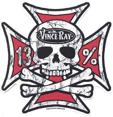 Iron Cross Skull Sticker Decal Vince Ray VR69