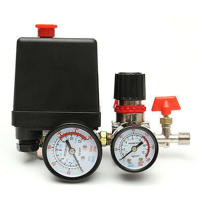 125PSI Air Compressor Pressure Valve ON/OFF Switch Control Regulator With Gauges
