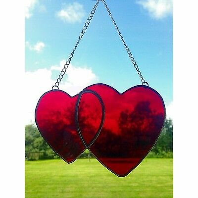 Handmade Stained Glass Love Heart Suncatcher, Red Glass Gifts