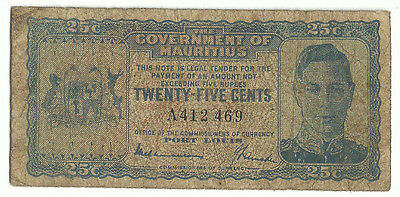 Mauritius Africa Banknote 25 Cents 1940 p24a King George F Rare Free Shipping