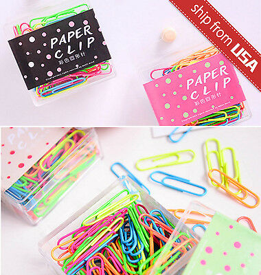 Lot 80 Paper Clips Multi-Color Metal Vinyl Color Coated Cute novelty stationery