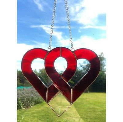 Handmade Stained Glass Love Heart Suncatcher, Tiffany, Red Glass Gifts