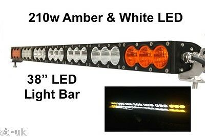 "210w 38"" LED Combo Beam OffRoad 4WD JEEP SUV Amber & White Recovery Light Bar"