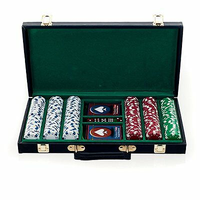 Big City Casino 300 Striped Dice Poker Chip Set with Black Case, White/Red/Green