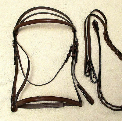 Havana Brown Leather PONY Size Raised English Bridle with Laced Leather Reins