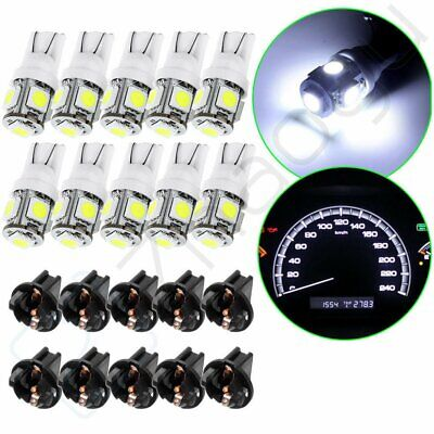 10X White 5050 SMD LED Bulbs Cluster Speedometer Dash Lights PC194 T10 Sockets