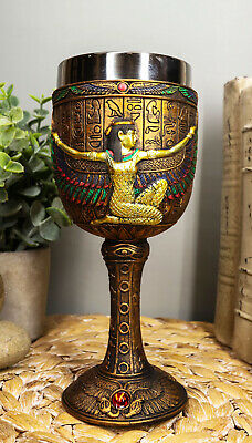"""6.75"""" Height Egyptian Goddess Magic Isis Wine Goblet Chalice w/ Stainless Steel"""