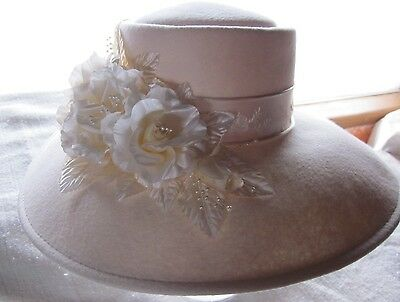 new RENEGADE Bridal Dress Formal Derby WESTERN felt fur hat  floral pearl ribbon