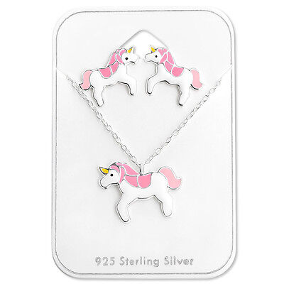 925 Sterling Silver Pink Unicorn Stud Earrings Necklace Gift Set Kids Girls