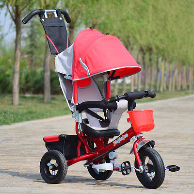 Red Kids Toddler Tricycle Child Bike Ride-on Stroller Trike with Push Handle USA