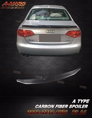 2009-2012 Audi A4 B8 Sedan 4dr Carbon Fiber Rear Trunk Spoiler Lip Type A