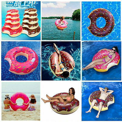 Inflatable Swim Ring Giant Bite Shape Donut Swimming Pool Water Float Raft