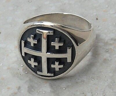 Solid Sterling Silver 925 3D Jerusalem Cross Ring All Size