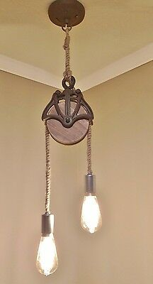 Ceiling Light Fixture - FARMHOUSE - STEAM PUNK - Wooden Pulley and Rope - CUSTOM