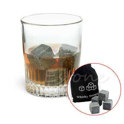 Whiskey Scotch Cubes Rocks Granite & Pouch Whisky Ice Stones Drinks Cooler 9pcs